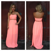 Neon Coral Strapless Maxi Dress