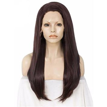 Long Dark Auburn Color Straight Synthetic Lace Front Wig