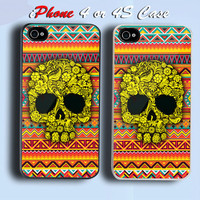 Floral Sugar Skull Pattern Custom iPhone 4 or 4S Case Cover