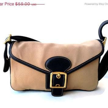 On Sale 90s Vintage Coach Shoulder Bag, Beige Canvas Purse, Small Retro Handbag, Sport
