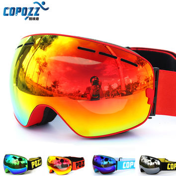 New COPOZZ brand ski goggles double UV400 anti-fog big ski mask glasses skiing men women snow snowboard goggles GOG-201
