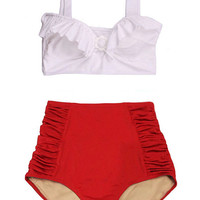 White Top and Red Ruched High Waist Waisted Woman Women Womens Swimsuit Swimwear Bikini set Swim Swimming Bathing suit wear dress S M L XL