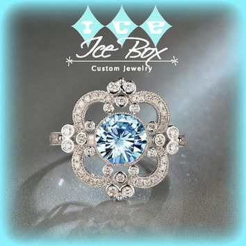 Moissanite Engagement Ring 7.5mm, 1.5ct Round Brilliant Blue Moissanite in a 14k White Gold Diamond Halo Setting Art Deco Nouveau Vintage