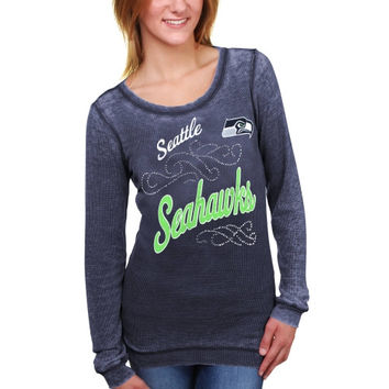 Seattle Seahawks Touch by Alyssa Milano Women's Blitz Burnout Thermal Long Sleeve Tri-Blend T-Shirt – College Navy