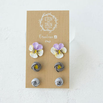 Grey YEllow Silver Ranunculus Pancies Stud Earrings Set Wholesale Women Small Hypoallergenic Handmade Studs Wedding Birthday Gifts Jewelry
