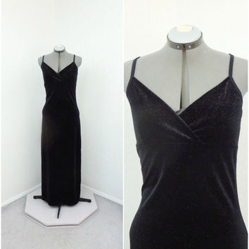 Vintage 90s Sparkly Black Velvet Dress, Bodycon Dress, Glitter Dress, Long Formal Dress, Floor Length Dress, Prom Dress, Spaghetti Strap