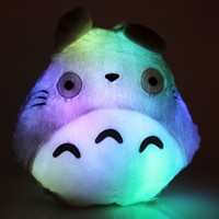 E-MART Totoro Shape Pillow with LED Colorful Light, Grey