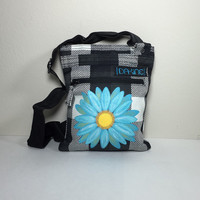 DaKine Black Checkered Women's Messenger Bag with Hand Painted Blue Daisy