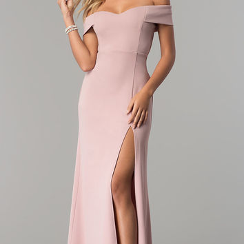 Off-the-Shoulder Long Rose Pink Prom Dress with Slit