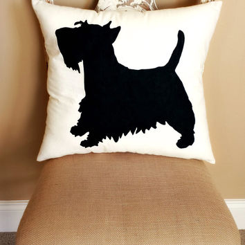 Scottish Terrier Dog Silhouette Throw Pillow, Decorative Pillow, Home Decor, Pets, Dog Pillow, Dorm Decor, Sofa Pillow **FREE SHIPPING**