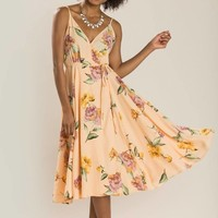 Penelope Peach Floral Wrap Dress