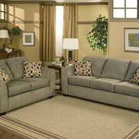 2 pc Edminton slate colored fabric upholstery sofa and love seat set