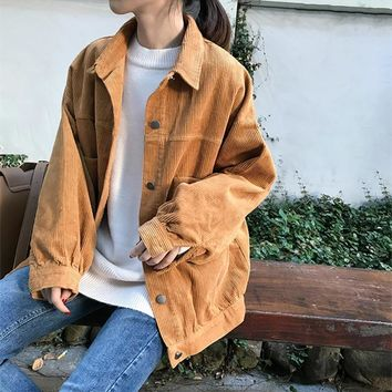 Trendy 2018 BF Style Women Fall Corduroy Jackets Long Sleeve Fashion Pumpkin Oversize Street Coats Femme Pockets Thick Classic Outwears AT_94_13