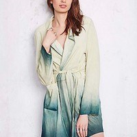 Womens Dip Dye Paint Suede Trench