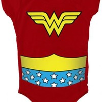 Wonder Woman Uniform Costume Red Snapsuit Infant Onesuit Baby Romper - Wonder Woman - | TV Store Online