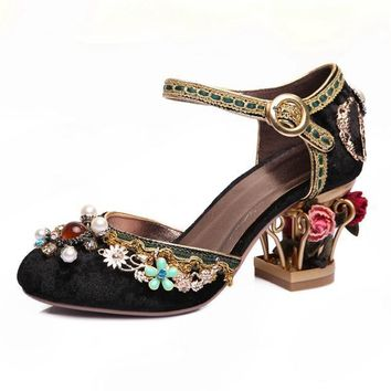 New fashion brand shoes luxury big size flower pearl high heel women pumps party wedding crystal causal shoes
