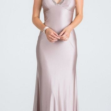 Blush Long Formal Dress with Spaghetti Straps