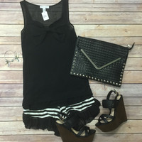 Bow Front Top: Black