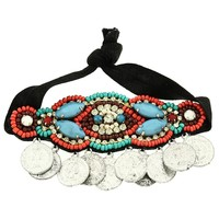*[HPC]-Colorful Indian Beads With Coin Discs Embellished Headband Tie
