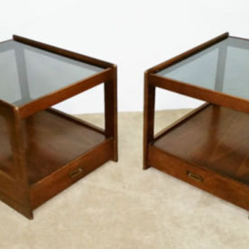 Pair of MCM Walnut Glass Top End Tables