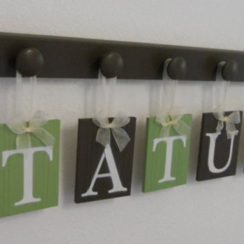 Nursery Decorations Wooden Letters. Set Includes 5 Hangers and Custom Baby Name TATUM Painted Light Green and Brown. Personalized Baby Gift