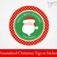 Christmas Gift tags, PRINTABLE Christmas Stickers, Christmas Tags, Christmas Treat Tags, Christmas Party Supplies 2.5 inch Circle,
