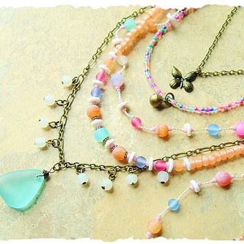 Bohemian Necklace, Multi Strand Gemstone Necklace, Pastel Boho Fashion, Handmade Unique, bohostyleme, Kaye Kraus