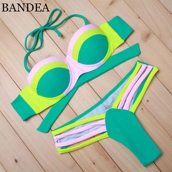 Sexy  Women Push UP Bikini Patchwork Swimwear Neon Color Bathing suits Swimsuit