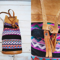 Boho Bag - Vintage Weaved Leather Backpack Drawstring Bag