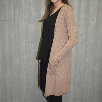 Make It Fun Long Mocha Cardigan