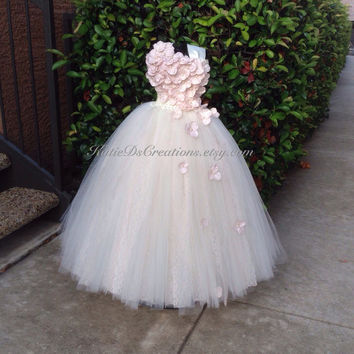 Ivory and Champagne Blush Lace Double Tulle Flower Girl Tutu Dress / Junior Bridesmaid Dress / Pageant Dress / Blush Flower Girl Dress