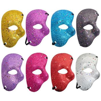 Christmas Halloween Plastic Mask Opera Phantom Ballroom Gold Powder Half Face Masquerade Party Mask