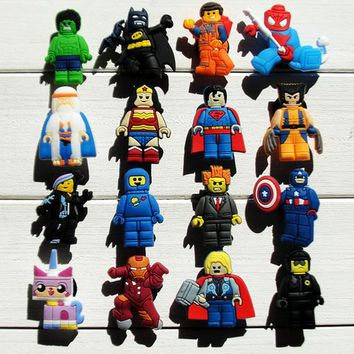 lego Super Heroes Iron Man Captain America Shoe Charms Pvc Fit Buckles And Bracelets Lovely Buckle Accessories Decoration Party Croc Jibbitz