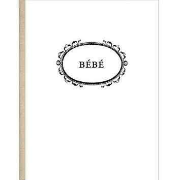 French Baby Bebe Greeting Card | chic black letterpress on white cotton paper