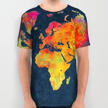 World Map blue All Over Print Shirt by Jbjart | Society6