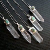 Clear Quartz Crystal Point and Turquoise Necklace Quartz Jewelry Turquoise Jewelry Double Stone Necklace Silver Dipped Crystal Point Boho