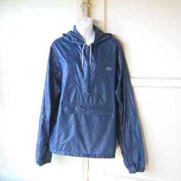Dark Blue Vintage Windbreaker by Izod LaCoste; Men's Large/Women's XL Blue Anorak w/ Hood & Pouch; U.S. Shipping Included