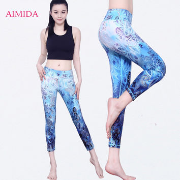 AIMIDA New Personalized Print Yoga Pants Sports Fitness Clothes Slim Cycling Running Gym Tight Cropped Trousers Female