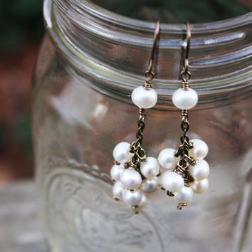 Ivory Freshwater Pearl Cluster Earrings on Antique Brass