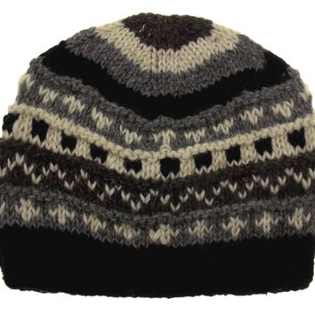 bada5148bdb Winter Hat Earth Ragz 100% Wool Rolled Fleece Lined Soft Warm White Black  Gray