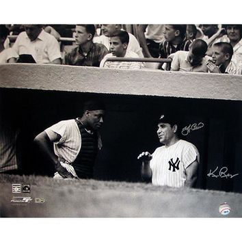 Yogi Berra w Elston Howard in Dugout B&W Horizontal 16x20 Photo (Signed by Regan) (MLB Auth)