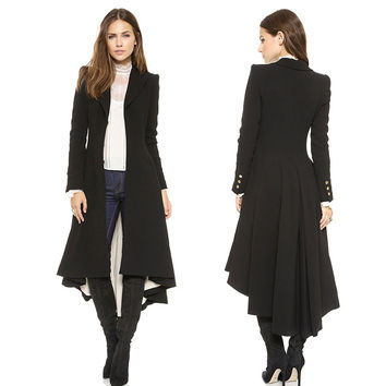 Autumn Winter Brand graceful Woolen Overcoat Women fashion long black trench 2015 british style tuxedo manteau femme coats YG622