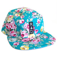 Radisrad The Garden 5 Panel Floral Hat in Teal