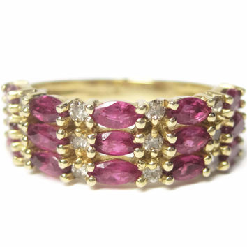 Vintage 14K Marquise Ruby Diamond Anniversary Ring Size 6.5