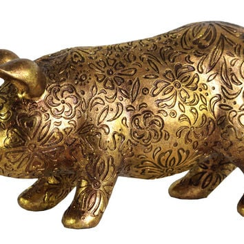 Resin Standing Pig Figurine with Engraved Floral Design Large Metallic Finish Gold