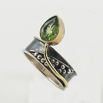 Peridot Two Tone Sterling Silver Leaf Ring