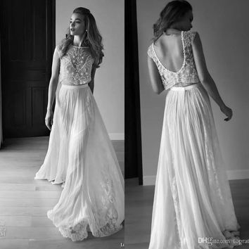 Robe De Mariage  Wedding Dresses Two Piece Sweetheart Sleeveless Low Back Pearls Beading Sequins Lace Chiffon Beach Boho Bohemia