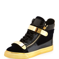 Men's Velvet High-Top Sneaker, Navy/Gold - Giuseppe Zanotti