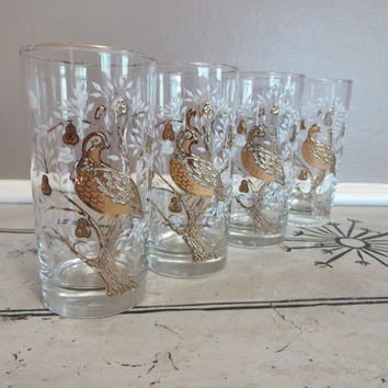 Vintage Libbey Drinking Glasses Partridge in a Pear Tree Gold Glasses Bird Glass Peacock Glassware Mid Century Barware Vintage Barware