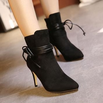 Women's Boots Ankle Boots Stiletto Heel Suede Shoes